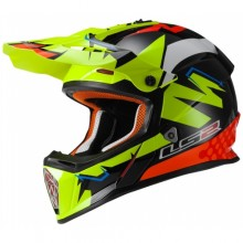 Кроссовый шлем LS2 MX437 Fast Volt Black Yellow Orange